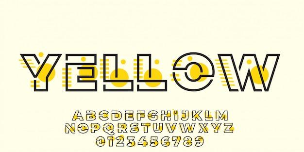 Estilo gráfico de efeito moderno texto amarelo