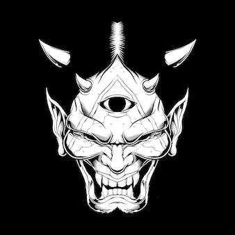Estilo grunge cartoon demônio rosto satanás ou lúcifer com chifres