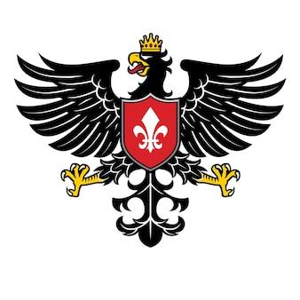 Estilo heráldico águia com coroa e fita em branco