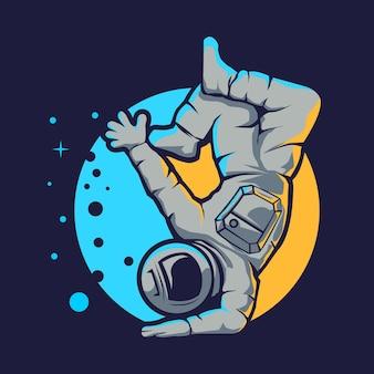 Estilo hip hop de astronauta fofo isolado em azul