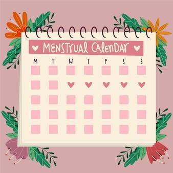 Estilo ilustrado de calendário menstrual