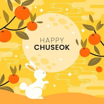 Estilo ilustrado do festival chuseok
