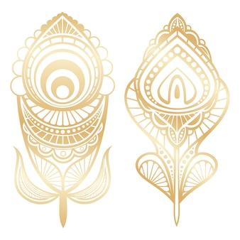 Estilo indiano de penas douradas isolado