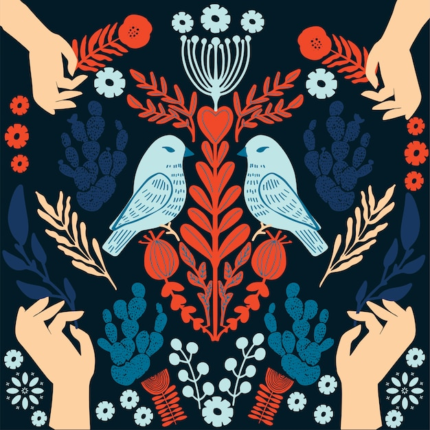 Estilo ingênuo primitivo da ilustração ornamental escandinava simples