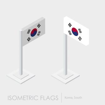 Estilo isométrico da bandeira da coréia do sul, estilo 3d