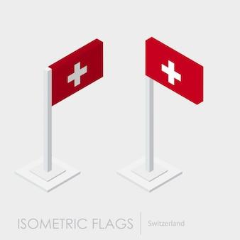 Estilo isométrico da bandeira da suíça, estilo 3d