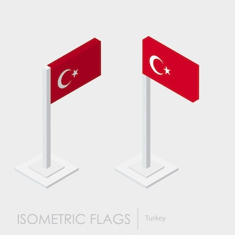 Estilo isométrico da bandeira de trurkey, estilo 3d