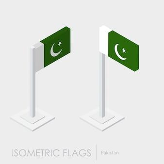 Estilo isométrico da bandeira do paquistão, estilo 3d, diferentes visualizações