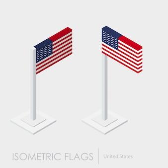 Estilo isométrico da bandeira dos eua, estilo 3d