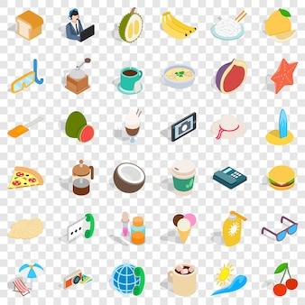 Estilo isométrico de 36 ícones de café da manhã
