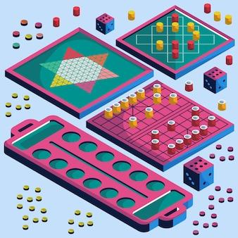 Estilo isométrico de coleção de jogos de tabuleiro