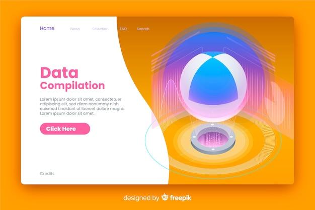 Estilo isométrico de página de destino de compilação de dados