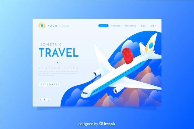 Estilo isométrico de página de destino de viagens