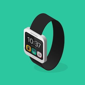 Estilo isométrico de relógio inteligente branco com ilustração de pulseira preta