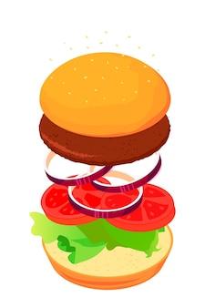 Estilo isométrico de sanduíche.