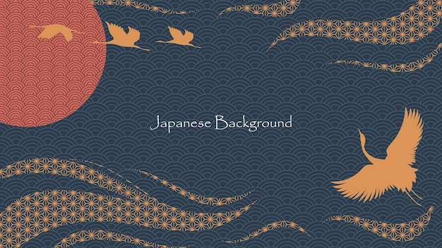 Estilo japonês asiático fundo decorativo design premium vector