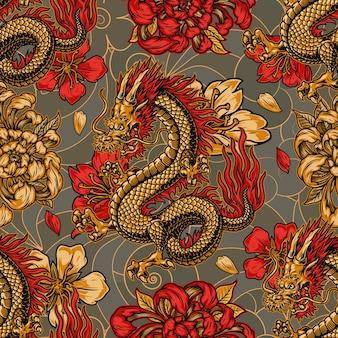 Estilo japonês vintage padrão sem costura com chifres fantasia dragão crisântemo e flores de sakura