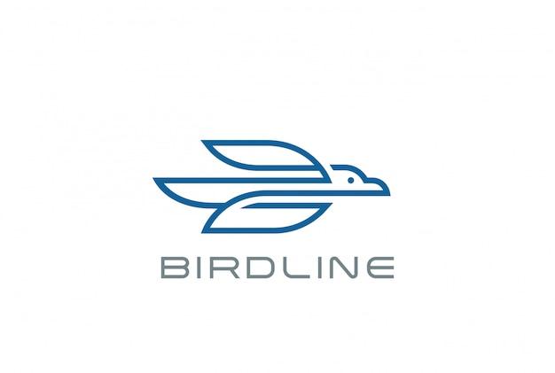 Estilo linear de logotipo de pássaro voando