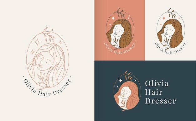 Estilo linear de logotipo de rosto de beleza de mulher, estúdio de beleza e modelo de marca de cosméticos