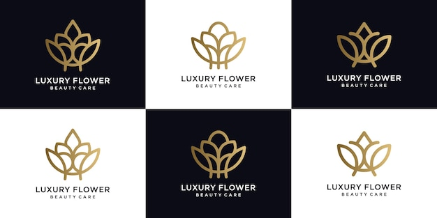 Estilo linear do ícone do logotipo de flor de luxo