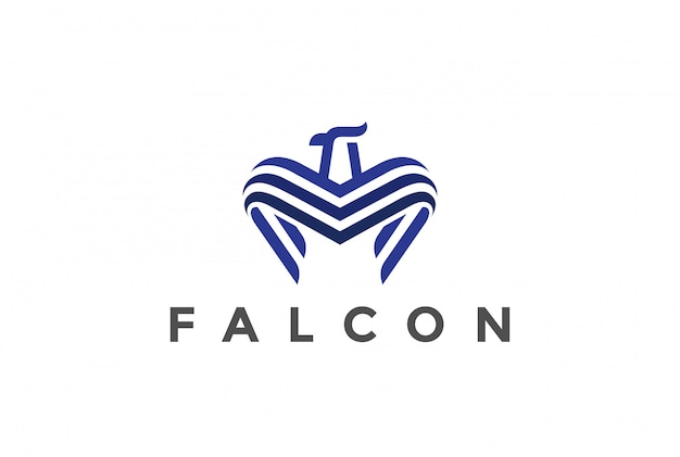 Estilo linear do logotipo falcon