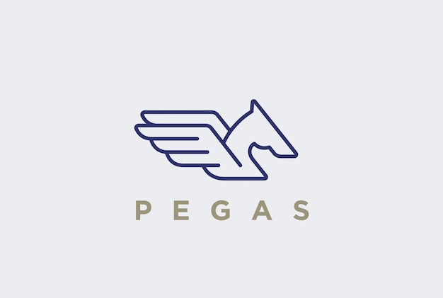 Estilo linear do logotipo pegasus
