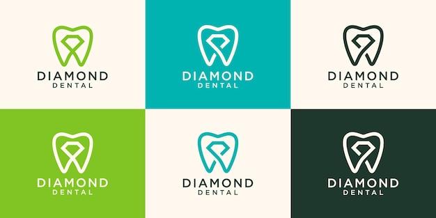 Estilo linear do modelo de vetor de design de logotipo de diamante dental.