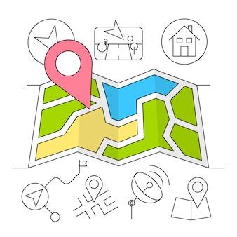 Estilo linear ícones da navegação minimal e elementos de viagem