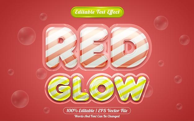 Estilo líquido de efeito de texto editável 3d com brilho vermelho