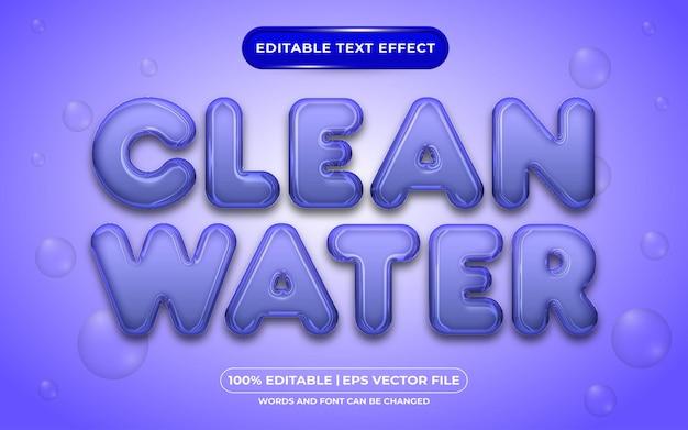 Estilo líquido de efeito de texto editável com água limpa