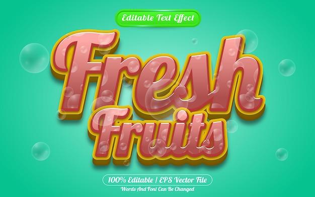 Estilo líquido de efeito de texto editável de frutas frescas