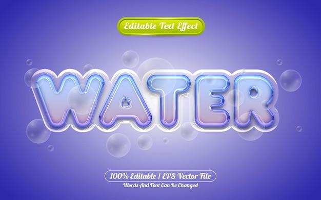 Estilo líquido de efeito de texto editável wate 3d Vetor Premium