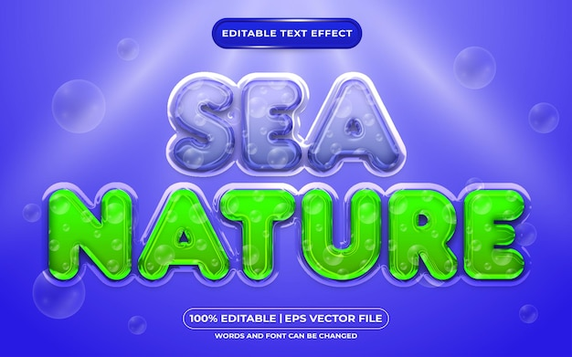 Estilo líquido do efeito de texto editável da natureza do mar