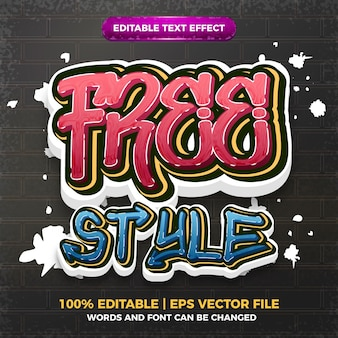 Estilo livre graffiti estilo de arte logo efeito de texto editável 3d