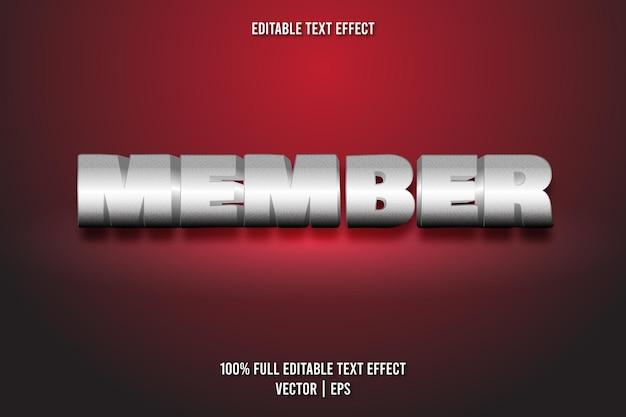 Estilo luxuoso de efeito de texto editável para membros