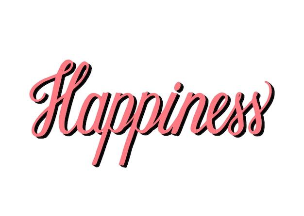 Estilo manuscrito de tipografia de felicidade