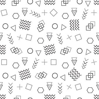 Estilo memphis com ilustração vetorial de padrão geométrico com figuras geométricas