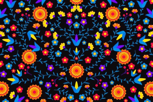 Estilo mexicano de fundo plano com flores
