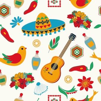 Estilo mexicano padrão sem emenda sombrero flores fundo branco arte popular desenho à mão
