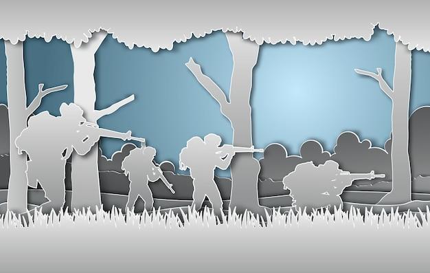 Estilo militar da arte do papel da ilustração do vetor.