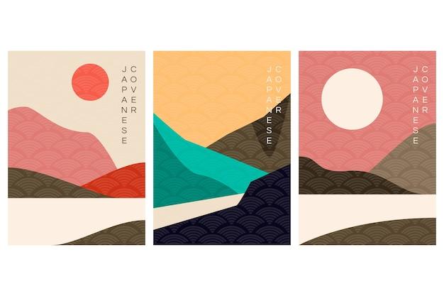 Estilo minimalista de coleção de capas japonesas