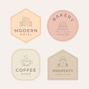 Estilo minimalista de coleção de logotipo