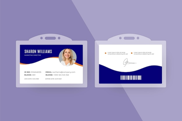 Estilo mínimo do modelo de cartões de identificação