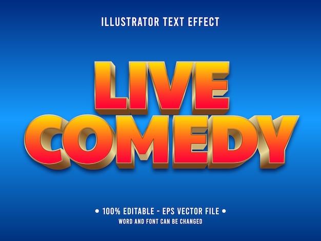Estilo moderno com efeito de texto editável de comédia ao vivo com gradiente de cor laranja Vetor Premium