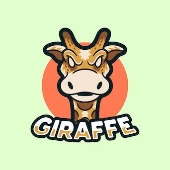 Estilo moderno da ilustração do logotipo das mascotes da girafa