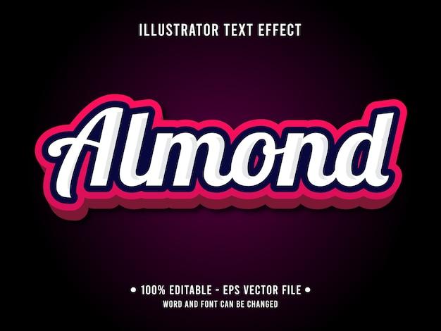 Estilo moderno de efeito de texto editável amêndoa