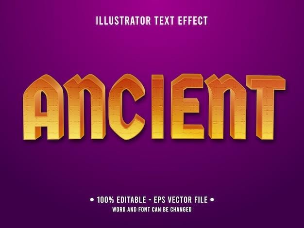 Estilo moderno de efeito de texto editável antigo com gradiente de cor laranja
