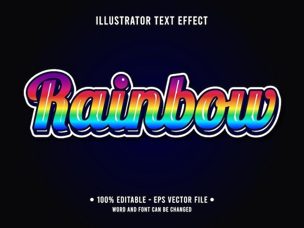 Estilo moderno de efeito de texto editável arco-íris