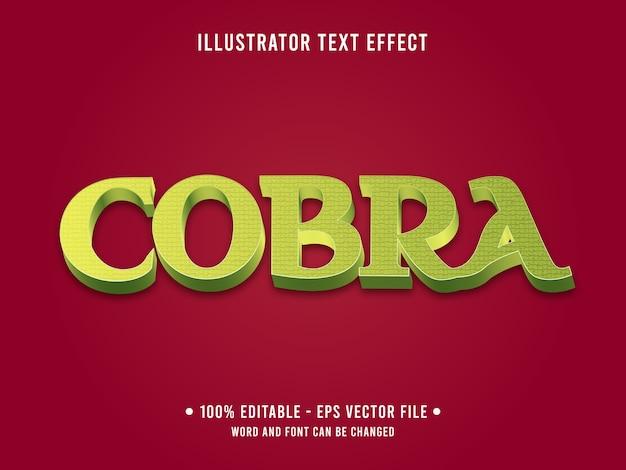 Estilo moderno de efeito de texto editável cobra com cor verde