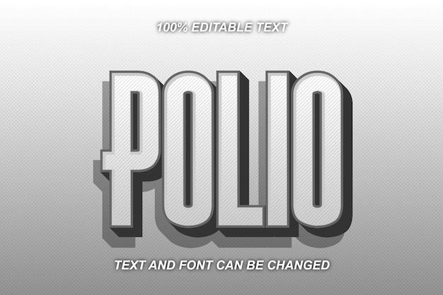 Estilo moderno de efeito de texto editável da poliomielite